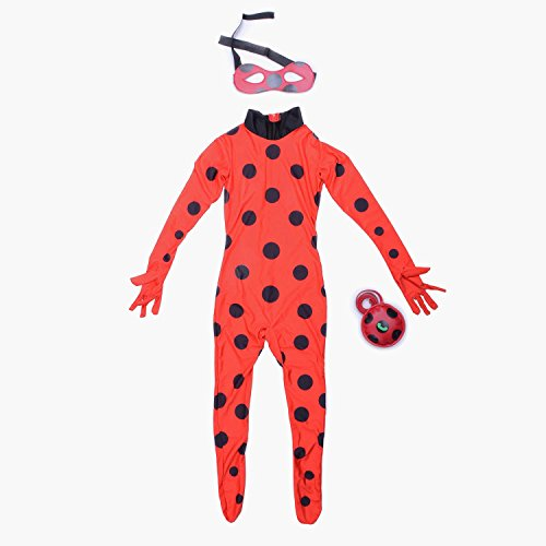 Child Ladybug Girl Costume Cosplay Kids Bodysuit Halloween L