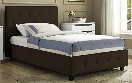 DHP Platform Bed, Dakota Faux Leather Tufted Upholstered Platform Bed - Includes Tufted Upholstered Headboard and Side Rails, Twin Platform Bed - Brown