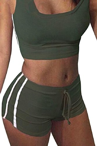 Army Of Two Outfit (Selowin Women Sexy Gym Workout Crop Tank Top and Shorts Sets 2 Piece Outfits, Army, Medium)