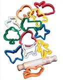 School Smart Animals and Objects Clay Cutters and Rolling Pin - 2 in - Set of 12 - Assorted Colors