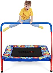 """Goplus 36"""" Square Toddler Trampoline, 330LBS Load Mini Kids Trampoline W/ Foam Covered Handle & Safety Pad"""