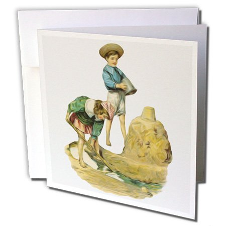 3dRose Dooni Designs Vintage Designs - Vintage Antique Children By The Sea Ocean Building A Sandcastle Victorian Illustration - 12 Greeting Cards with envelopes (gc_119024_2)