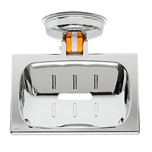 Acacia Round Square Shape Stainless Steel Plated Classic Bathroom Shower Sink Soap Dish Holder Basket Suction Cup Home Decorate