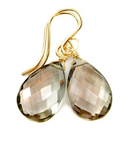 14k Gold Filled Smoky Quartz Earrings Faceted Pear Smokey Teardrops Dangles