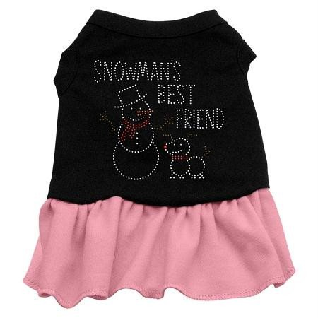 (Mirage Pet Products Snowman's Best Friend Rhinestone 20-Inch Pet Dress, 3X-Large, Black with Pink)