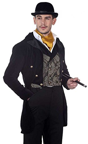 56 Satin Cape Costumes (Steampunk Victorian Tailcoat, S-XL, Black Cotton Velvet with Satin Lining and Lapel (XXX-Large: 54-56