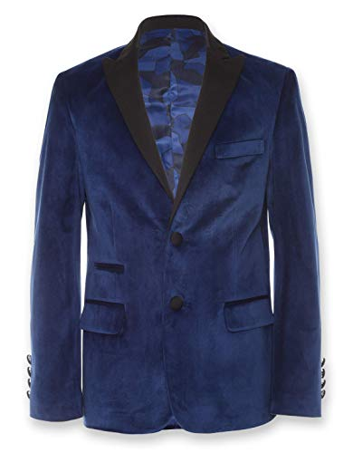 Calvin Klein Big Boys' Velvet Blazer Jacket, Flag Blue, 12