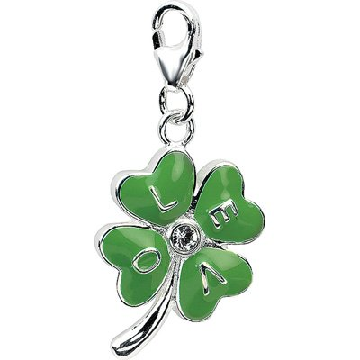 Amore 3D Enameled 4-Leaf Clover Charm w/Lobster Clasp in Sterling Silver