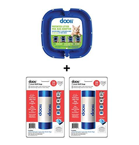 Dooli Litter Genie Compatible Bag Adapter and 50 Bag Refills (Equals 8+ Name Brand Refills) ()