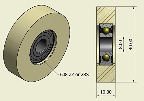 10 mm Wide- 10 mm bearing Pack of 4 x 35 mm Diameter Machined Nylon Rollers Various Widths Made in the EU