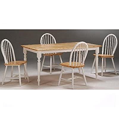 "Boraam 80369 Farmhouse 5-Piece Dining Room Set, White/Natural - Ready To Assemble construction (RTA): all tools are included making assembly easy as 1, 2, 3! Constructed with solid hardwood 36"" x 60"" Table top - kitchen-dining-room-furniture, kitchen-dining-room, dining-sets - 41vg7zjnxpL. SS400  -"