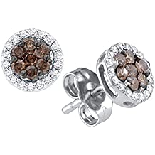Brown Diamond Flower Stud Earrings 10k White Gold Floral Studs Chocolate Round Cluster Screwback 1/4 Cttw
