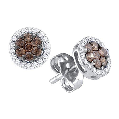 (10k White Gold Chocolate Brown Diamond Flower Cluster Screwback Stud Earrings (1/4 Cttw))