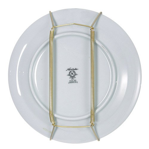Rocky Mountain Goods Plate Hanger for Wall and Mounting Hardware - Fits Decorative Plates and platters - Heavy Duty Polished Brass - Vinyl Non Scratch Hooks - Includes Wall Mount - 17 Hanger Generations Plastic