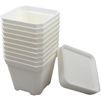Amazon 100 white plastic 2 14w x 2t flower pots garden bangqiao 390 inch plastic flower pots for plantscuttingseedlings pack of 10 white mightylinksfo
