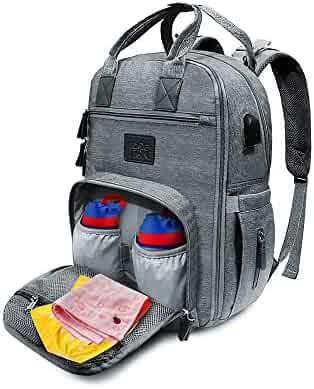 Diaper Bag Backpack Insulated Waterproof Multifunctional Baby Nappy Bag with Changing Pads and Drawstring Bag for both Girls and Boys Sylish and Durable - Grey