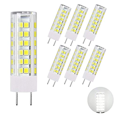 DiCUNO G8 LED Bulb, Dimmable 6W Daylight White 6000K, 120V Xenon 60w Halogen Replacement, Under Cabinet Counter Light, 6Pcs, Note: Must Check Size Before Purchase(See Picture 2 & ()