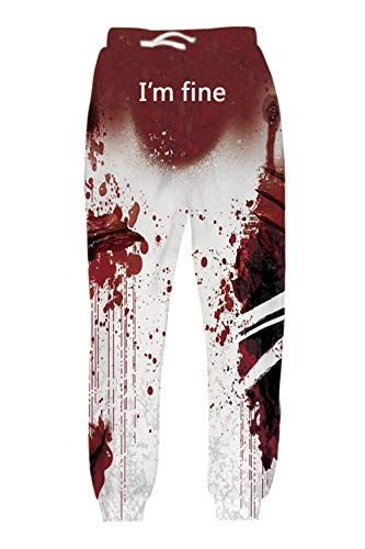 Belovecol Mens Womens Jogger Pants White Red Blood 3D Print Scary Halloween Handprint Sweatpants Sportswear Cool Graphic Pattern Gym Trousers with Pockets for Party Winter Fall L