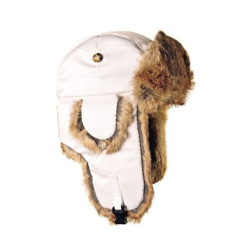 Mad Bomber Original White Pilot Bomber Cap Real Rabbit Fur Trapper Hunting Cap, Large (Mad Bomber Hats For Women)
