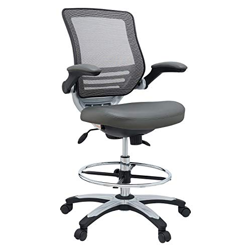 Modway Edge Drafting Chair - Reception Desk Chair - Flip-Up Arm Drafting Chair in Gray