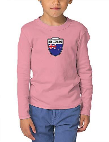 New Zealand - Country Soccer Crest Long Sleeve Toddler Cotton Jersey Shirt (Light Pink, 2T)