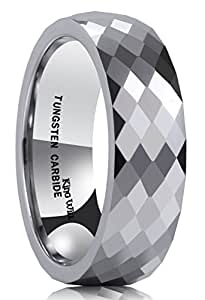 King Will Classic Men's 8MM Multi Faceted Tungsten Carbide Ring Polished Wedding Engagement Band(7)