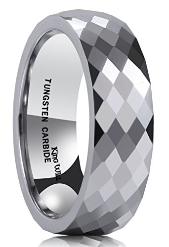 New Mens Titanium Diamond Ring - King Will CLASSIC Men's 8MM Multi Faceted Tungsten Carbide Ring Polished Wedding Engagement Band(9)