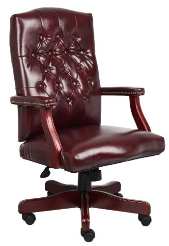 Burgundy Office Chairs - Boss Office Products B905-BY Classic Executive Caressoft Chair with Mahogany Finish in Burgundy