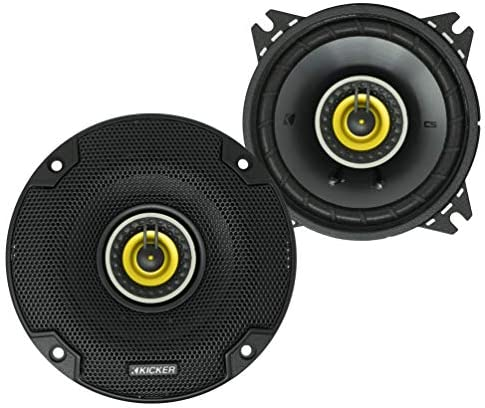 KICKER CS Sequence CSC4 4 Inch Automotive Audio Speaker with Woofers, Yellow (2 Pack)
