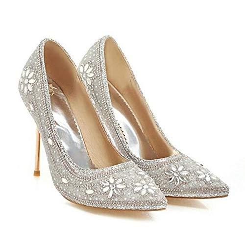 ZHZNVX Zapatos de Mujer Canvas Spring Comfort Heel Stiletto Heel Black/Silver / Red Black