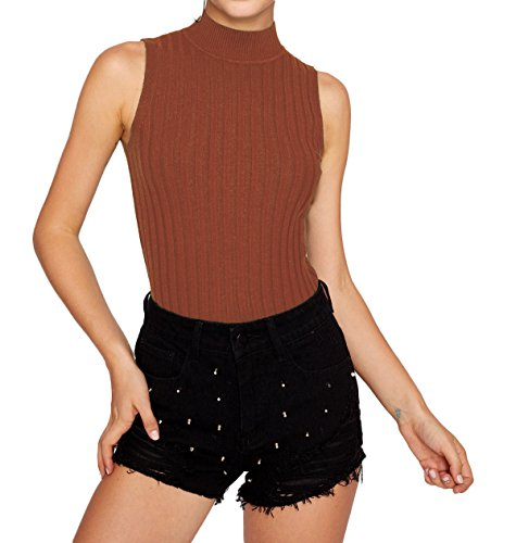 Women's Knit High Turtle Neck Halter Casual Sleeveless Sexy Stretch Tank Top T-Shirt Sweater Tunic (Jersey Knit Halter Top)