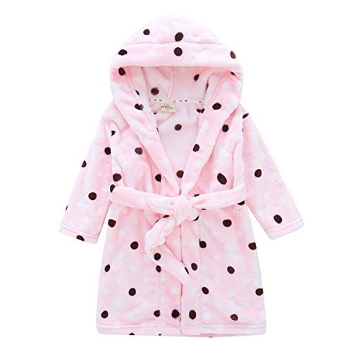 Toddlers/kids Hooded Terry Robe Fleece Bathrobe Children's Pajamas Sleepwear (4T, Pink Polka Dot)