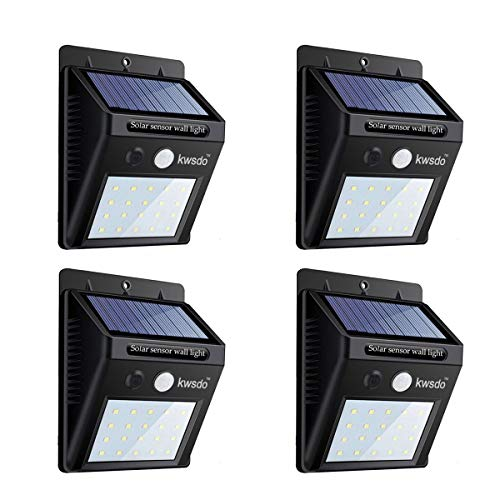 Solar Lights Outdoor, Sandm, Super Bright LED Solar Motion Sensor Lights, Wireless Waterproof Security Lights for Garden, Yard, Wall, Outdoor Gate with Motion Activated Auto On/Off (20 LEDs, 4 Packs) (Garden Angel Wall)