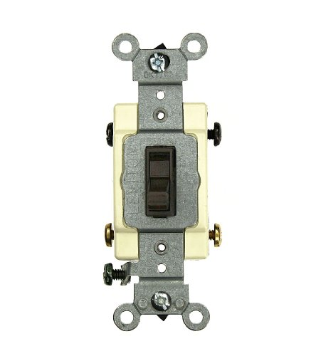 Leviton 54524-2 20 Amp, 120/277 Volt, Toggle Framed 4-Way AC Quiet Switch, Commercial Grade, Grounding, Brown