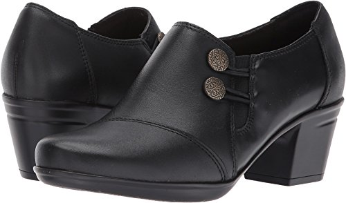 Clarks Women's Emslie Warren Slip-on Loafer,Black Leather,5.5 M US