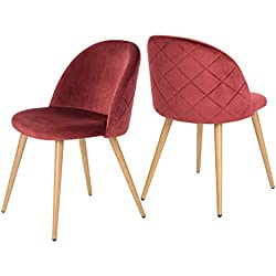 GreenForest Dining Leisure Chair. Wood Legs Velvet Cushion Seat and Back for Dining and Living Room Chairs, Set of 2 Bordeaux