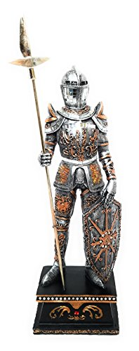 """Standing Knight Figurine - Collectible Medieval Knight Statue Figurine - 15.5"""" Spearman with Shield, Armour and Spear - Great Gift For History Enthusiasts"""