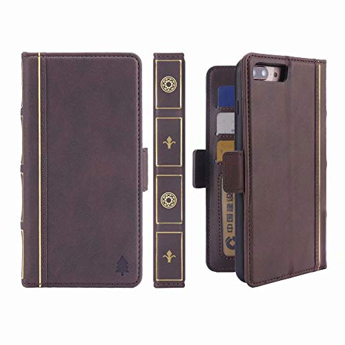 iPhone 8 Plus Book Wallet Case, Miniko(TM) [Book Style] Credit Card Premium PU Leather Wallet Case Cover Vintage for Apple iPhone 8 Plus Brown Classic [ID Card/Case Slot]