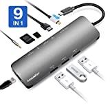 AmazeFan USB C Hub for MacBook Pro, 9 in 1 Aluminum Type C Adapter with 4K HDMI, Micro SD, SD/MMC Card, 3 USB 3.0 Ports, Gigabit Ethernet, USB-C Charging and 3.5mm AUX Ports