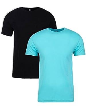 N6210 T-Shirt, Black + Tahiti Blue (2 Pack), Large