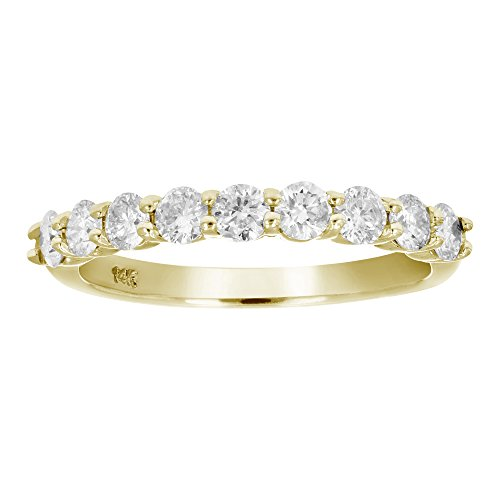 0.75 Ct Yellow Diamond (3/4 CT AGS Certified I1-I2 Diamond Wedding Band in 14K Yellow Gold Size 7)