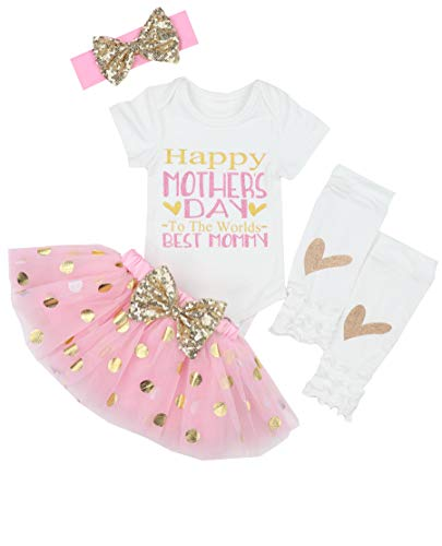 First Mothers Day Baby Girl Outfit Letter Print Rompers+Tutu Dresses Shorts+Leggings+Headband 4PCS Skirt Set 3-6 Months Pink
