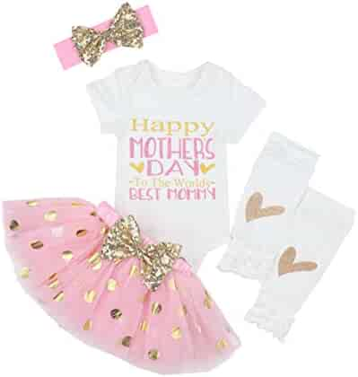 5c3ba4e29e First Mothers Day Baby Girl Outfit Letter Print Rompers+Tutu Dresses  Shorts+Leggings+