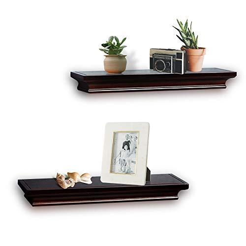 lves Espresso, Ledge Wall Shelf for Home Decor with 4