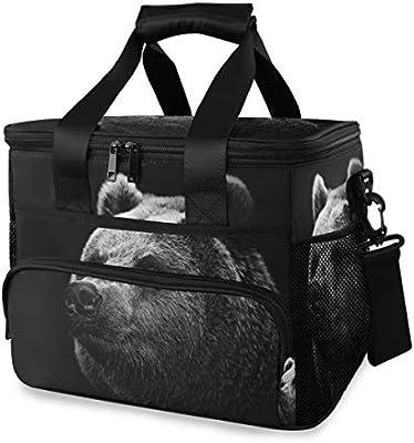 Cooler Box Ice Pack Bear Black Lunch Bag Correa de hombro portátil Picnic de trabajo: Amazon.es: Hogar
