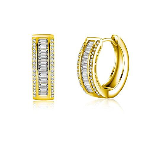 22k Gold Hoop Earrings (Wealthmao Hoop Earrings Hypoallergenic 18K Gold Plating CZ Rounded Huggie Piercing Earrings for Women Girls 0.81