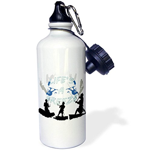 3dRose Taiche - Vector - Kitesurfing Wakeboarding - Lifes A Breeze For Kitesurfers Blue Text - 21 oz Sports Water Bottle (wb_269734_1) by 3dRose