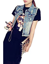 yulinge Womens Summer Casual Sleeveless Denim Jacket Button up Vests