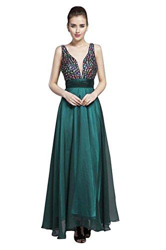 Ausschnitt Grün Tiered Ohne Beauty V Doppel Strass Arm Emily Abendkleid xUIwvPqB