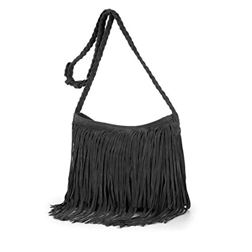 - Queena Women Suede Fringe Tassel Shoulder Bag Vintage Hippie Messenger Bag Cross Body Hobo Purse Grey